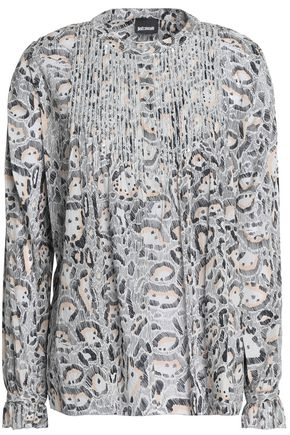 JUST CAVALLI Pleated leopard-print cotton top