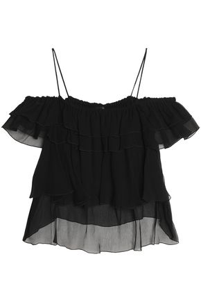 JUST CAVALLI Off-the-shoulder ruffled silk georgette blouse
