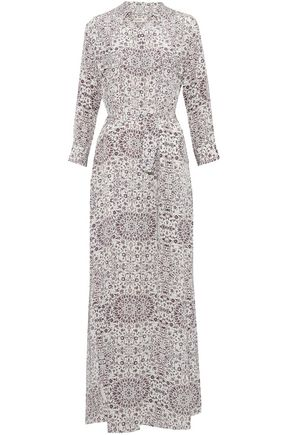 L'AGENCE Belted printed silk maxi dress