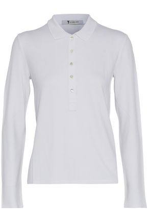 T by ALEXANDER WANG Stretch-piqué polo shirt
