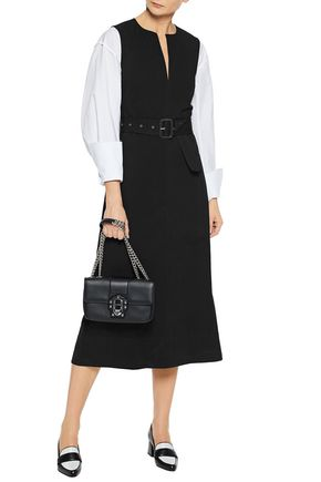 JOSEPH Belted cotton-twill midi dress