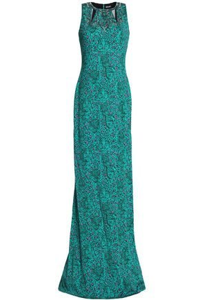 JUST CAVALLI Embellished printed crepe gown