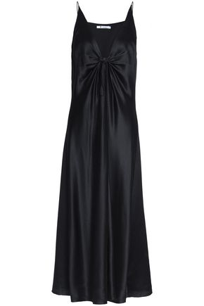 T by ALEXANDER WANG Knotted hammered silk-satin midi dress