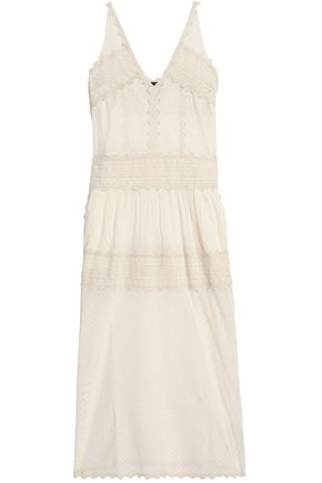JUST CAVALLI Rick rack-trimmed embroidered cotton midi dress
