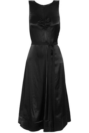 JOSEPH Gathered satin-crepe midi dress