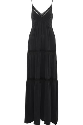 L'AGENCE Lace-trimmed tiered washed-silk maxi dress
