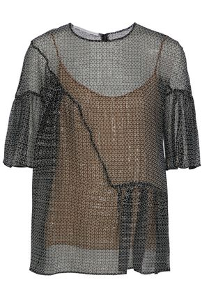 STELLA McCARTNEY Pleated metallic printed silk-blend georgette top