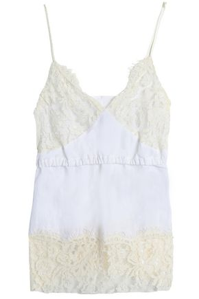 MM6 MAISON MARGIELA Paneled lace and crinkled-poplin camisole