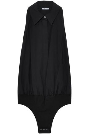 T by ALEXANDER WANG Gathered cotton-poplin and stretch-modal jersey bodysuit