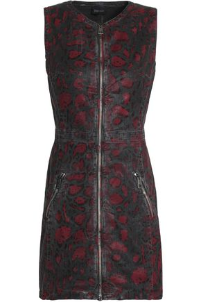 JUST CAVALLI Leopard-print coated-denim mini dress
