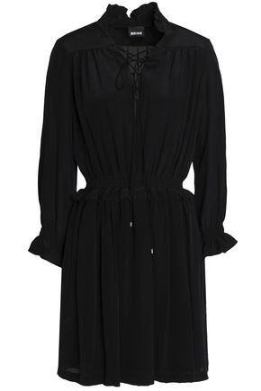 JUST CAVALLI Pleated silk mini dress