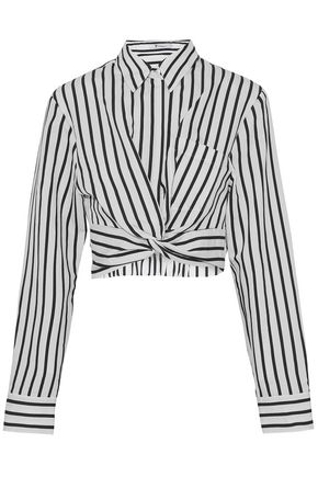 T by ALEXANDER WANG Cropped striped cotton-blend poplin shirt