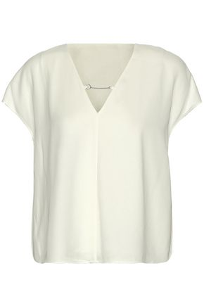 T by ALEXANDER WANG Chain-detailed crepe de chine top