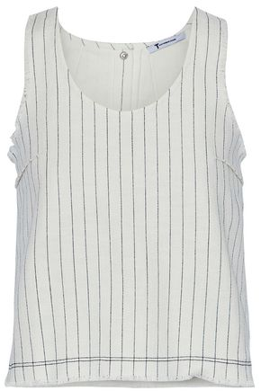 T by ALEXANDER WANG Frayed pinstriped basketweave cotton top