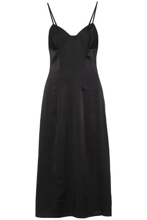 MICHELLE MASON Silk-blend satin midi slip dress