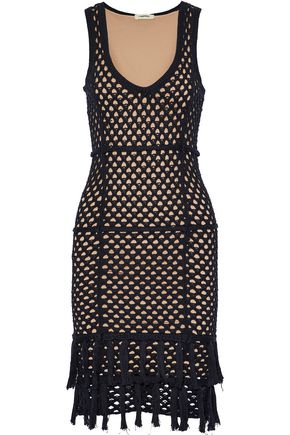 L'AGENCE Tasseled crocheted cotton and silk-blend dress