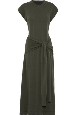 JOSEPH Tie-front cutout woven midi dress
