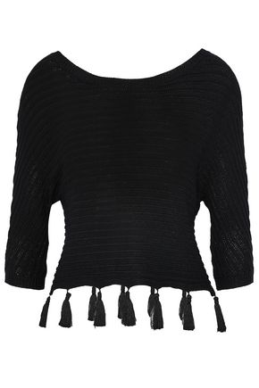 L'AGENCE Tassel-trimmed open-knit top