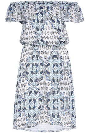 L'AGENCE Off-the-shoulder printed silk crepe de chine dress