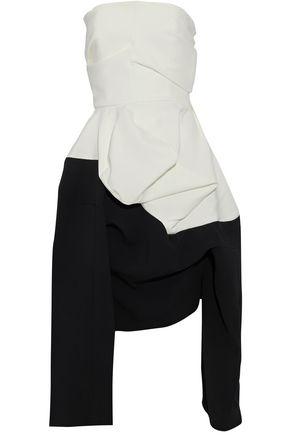 J.W.ANDERSON Strapless asymmetric two-tone crepe peplum dress