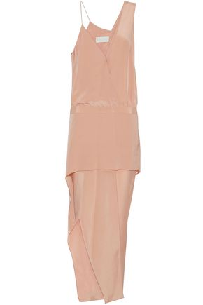 MICHELLE MASON Wrap-effect asymmetric printed crepe midi dress