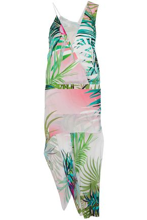 MICHELLE MASON Wrap-effect printed asymmetric midi dress