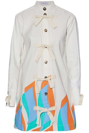 J.W.ANDERSON Tie-front printed cotton and linen-blend mini shirt dress