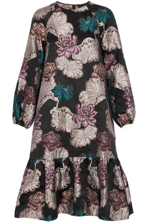 CO Ruffled metallic floral-brocade dress
