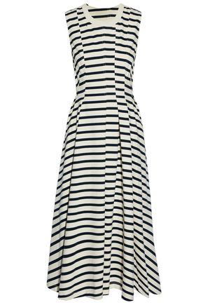 T by ALEXANDER WANG Striped cotton-jersey midi dress