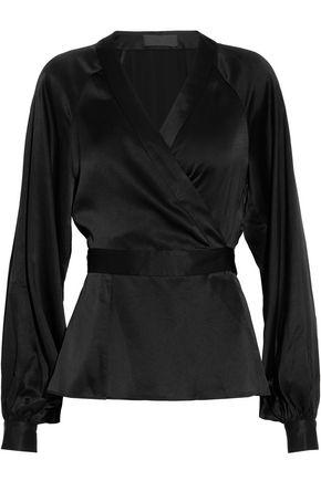 CO Gathered satin wrap blouse