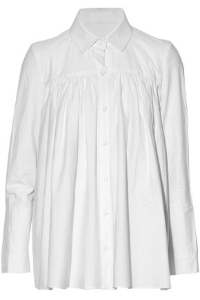 CO Gathered cotton-poplin shirt