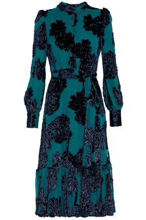 CO Ruffled flocked velvet chiffon dress