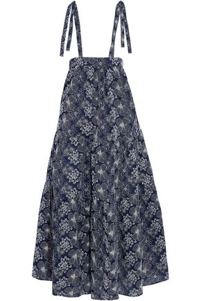 CO Strap-detailed embroidered cotton maxi skirt