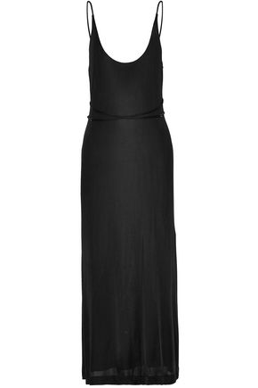 T by ALEXANDER WANG Silk-trimmed jersey maxi slip dress