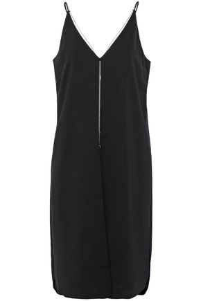 T by ALEXANDER WANG Open-back chain-embellished crepe dress