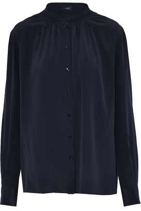 JOSEPH Gathered silk-crepe de chine blouse