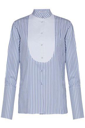 J.W.ANDERSON Pleated striped silk-twill shirt