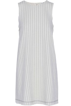T by ALEXANDER WANG Frayed striped basketweave cotton mini dress