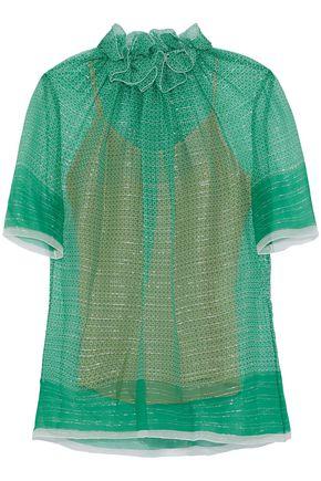 STELLA McCARTNEY Gathered metallic silk-gauze top