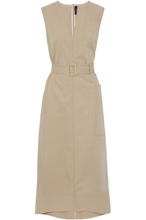 JOSEPH Belted cotton-poplin midi dress