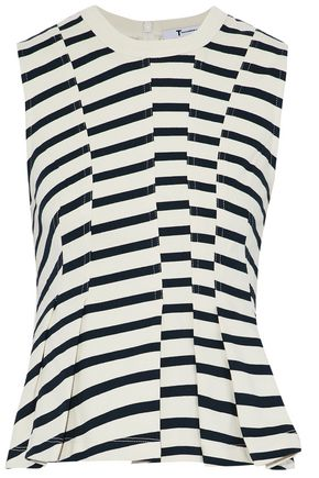 T by ALEXANDER WANG Striped cotton-jersey peplum top