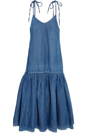 CO Gathered chambray midi dress