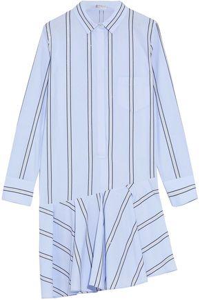 BRUNELLO CUCINELLI Asymmetric embellished striped cotton-poplin dress