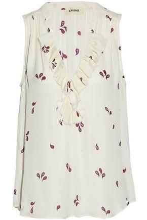 L'AGENCE Natasha ruffled printed silk crepe de chine blouse