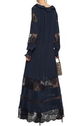STELLA McCARTNEY Lace-paneled gathered silk crepe de chine maxi dress