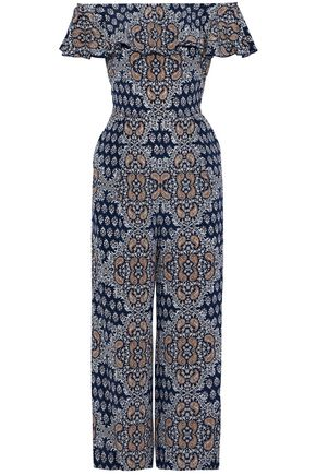 L'AGENCE Off-the-shoulder ruffled floral-print silk crepe de chine jumpsuit