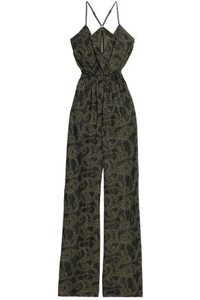 JUST CAVALLI Printed crepe jumpsuit