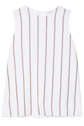 BRUNELLO CUCINELLI Bead-embellished striped silk-blend top