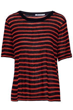 T by ALEXANDER WANG Striped slub stretch-knit T-shirt