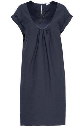 BRUNELLO CUCINELLI Satin-trimmed bead-embellished cotton-blend dress